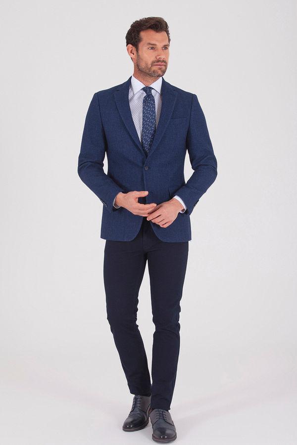 Hatem Saykı - Lacivert Slim Fit Desenli Ceket (1)