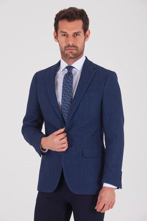 Hatem Saykı - Lacivert Slim Fit Desenli Ceket
