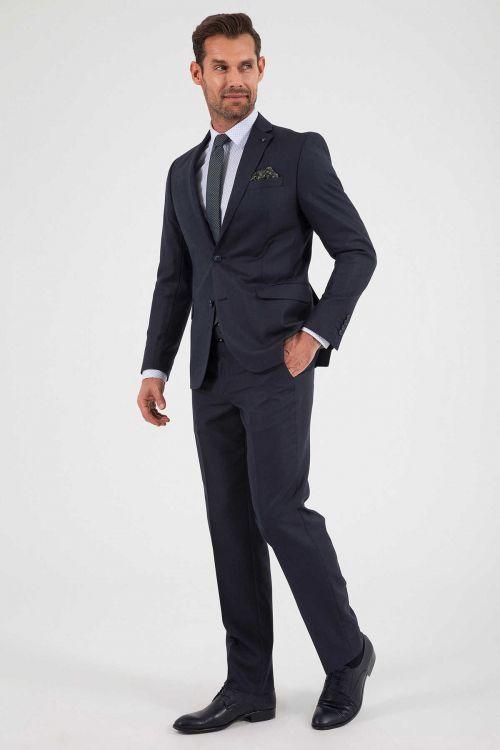 HATEMOĞLU - Lacivert Desenli Dinamik Takım Elbise