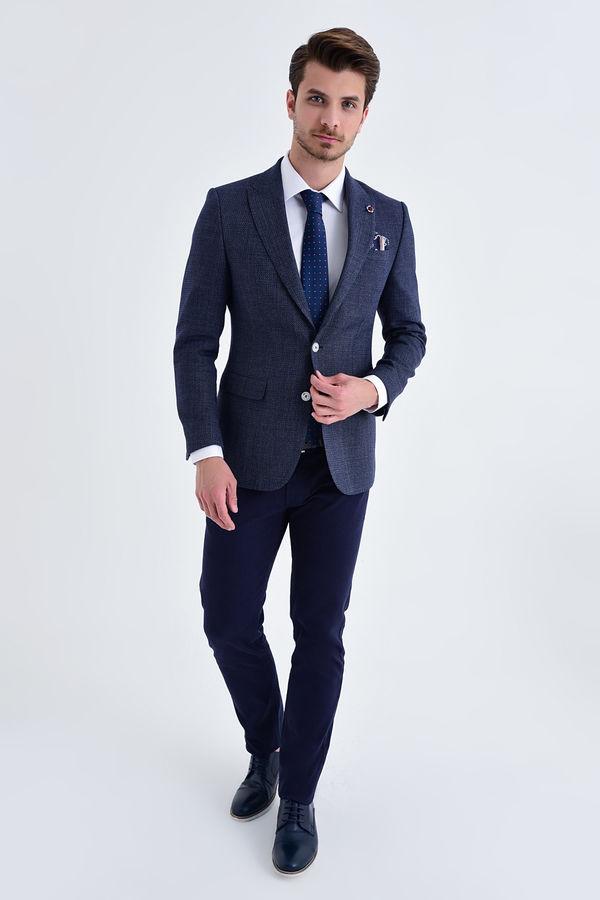 HATEM SAYKI - Desenli Slim Fit Lacivert Ceket