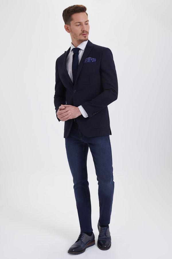 HATEMOĞLU - Desenli Slim Fit Lacivert Ceket (1)