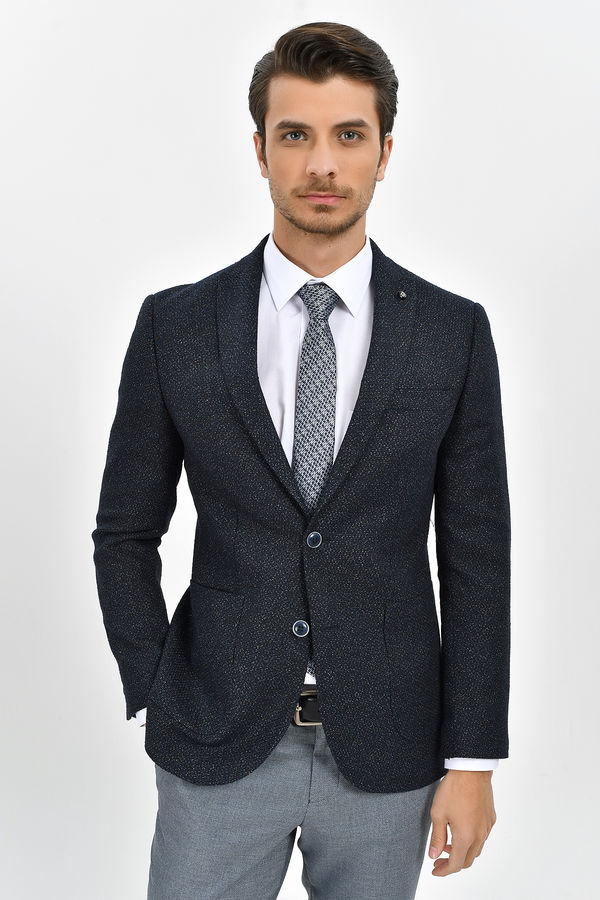 HATEMOĞLU - Lacivert Desenli Slim Fit Ceket