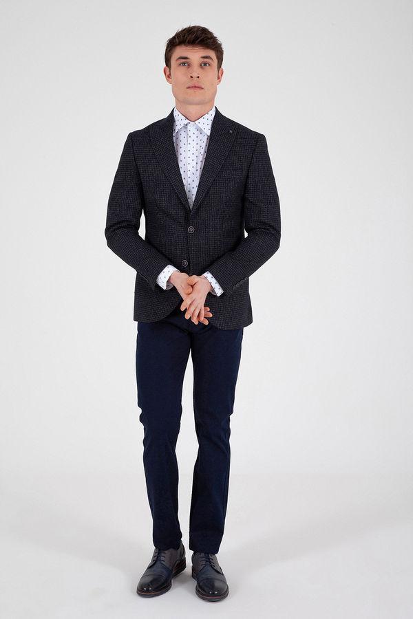 Hatem Saykı - Lacivert Desenli Slim Fit Ceket (1)