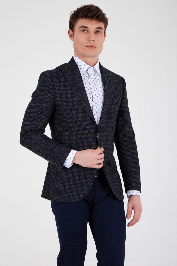 Hatem Saykı - Lacivert Desenli Slim Fit Ceket