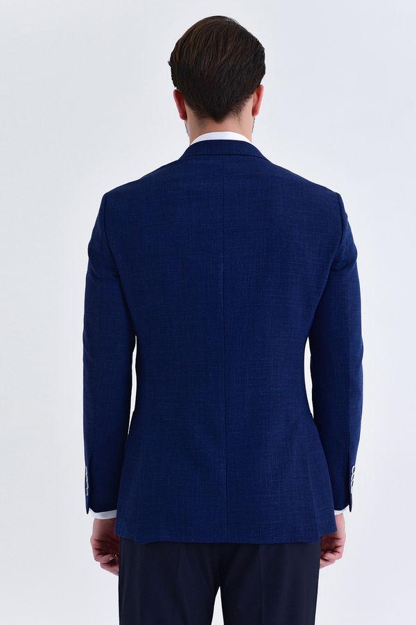 Lacivert Desenli Slim Fit Ceket