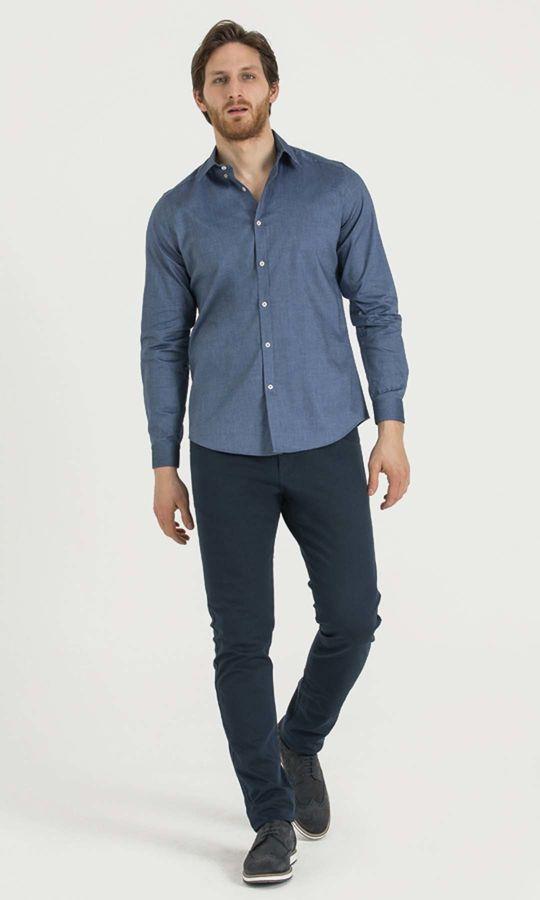 HATEM SAYKI - Desenli Slim Fit Lacivert Gömlek (1)