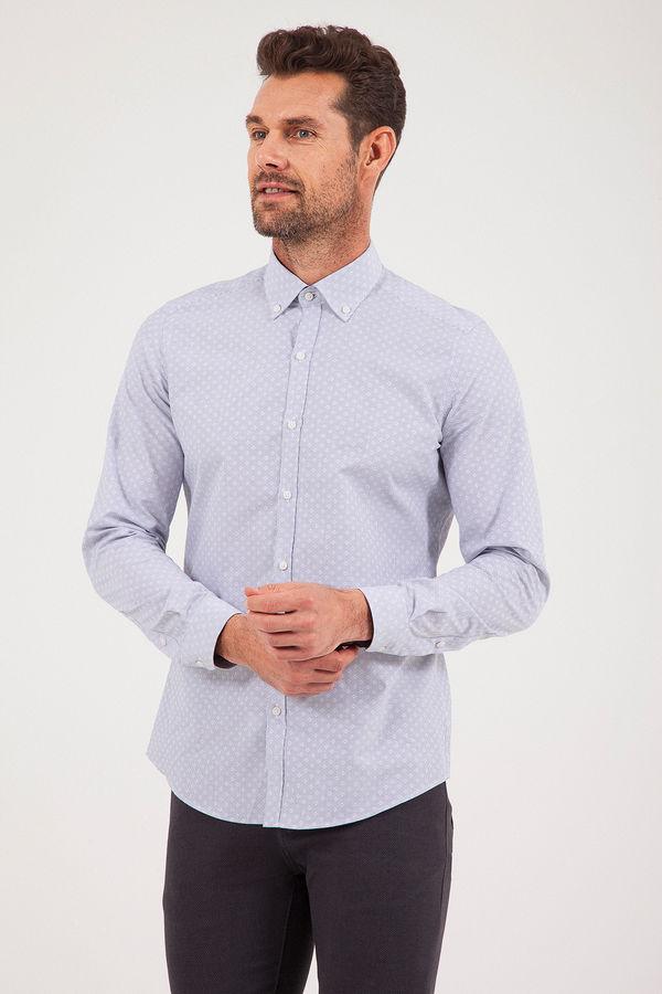 HATEM SAYKI - Lacivert Desenli Slim Fit Gömlek