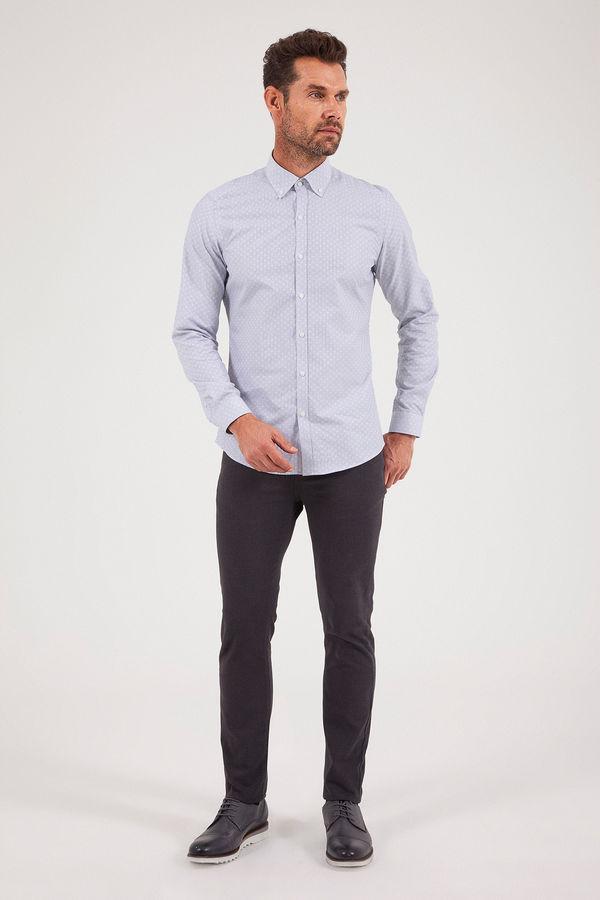 HATEM SAYKI - Lacivert Desenli Slim Fit Gömlek (1)