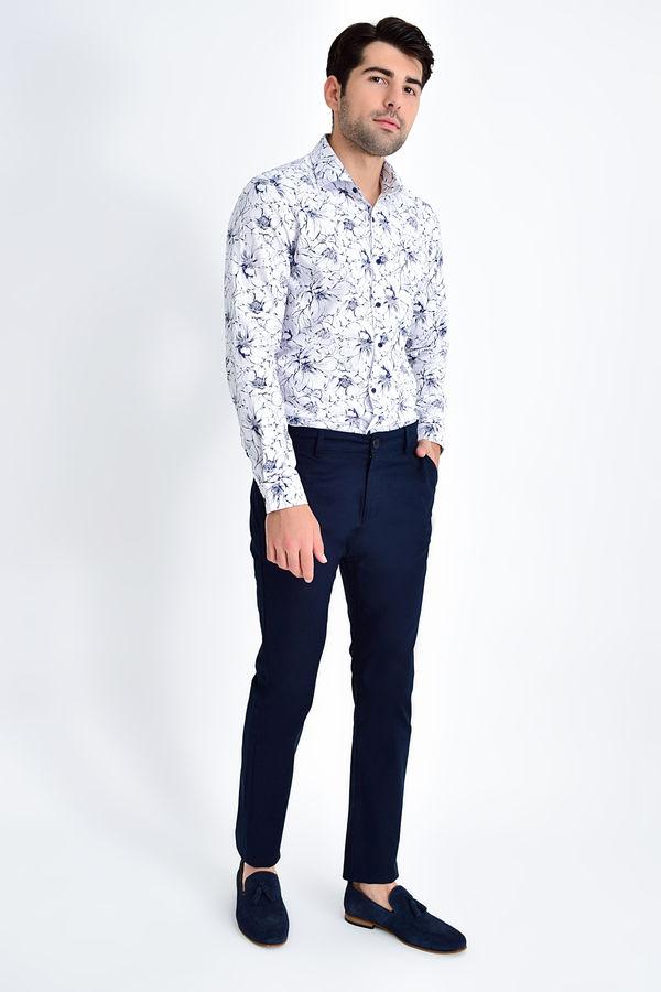 HATEM SAYKI - Lacivert Desenli Slim Fit Pantolon (1)