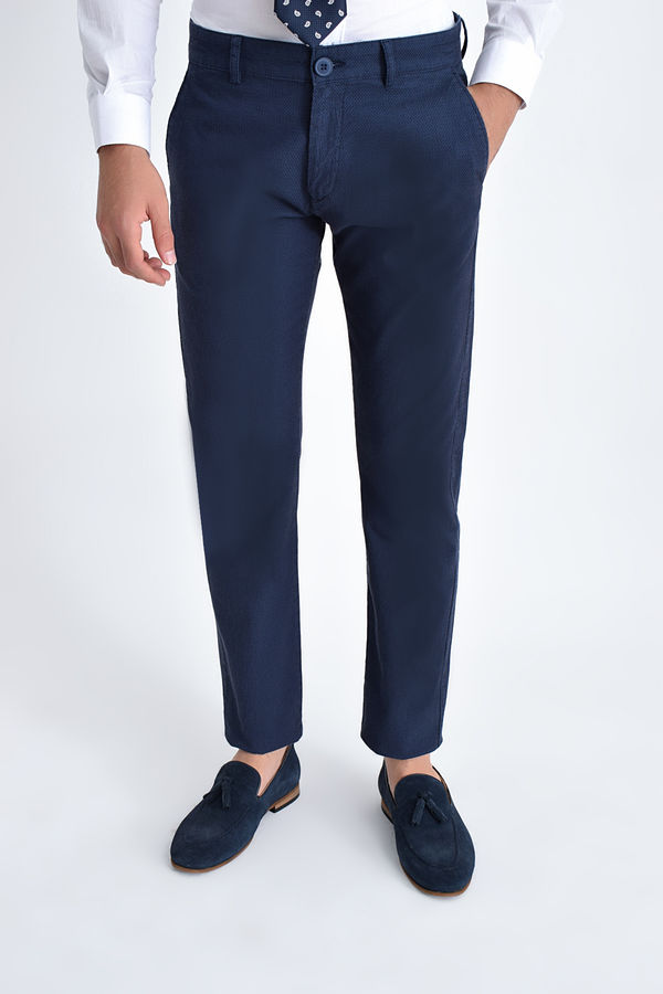 HATEM SAYKI - Lacivert Desenli Slim Fit Pantolon