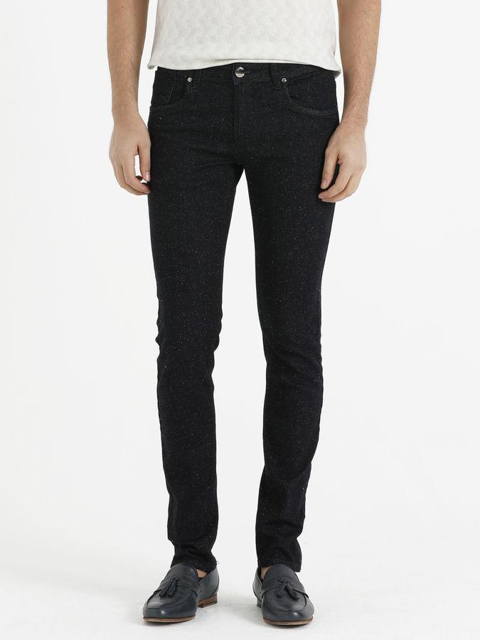 HTML - Lacivert Desenli Slim Fit Pantolon