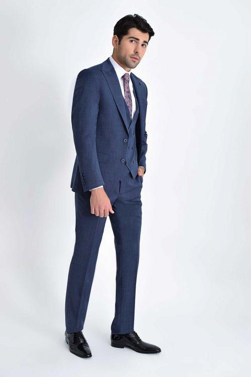 HATEM SAYKI - Lacivert Desenli Slim Fit Takım Elbise (1)
