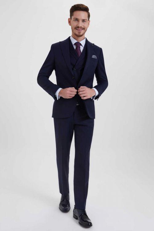 Hatem Saykı - Desenli Slim Fit Lacivert Takım Elbise