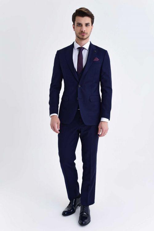 Hatem Saykı - Desenli Slim Fit Lacivert Takım Elbise (1)