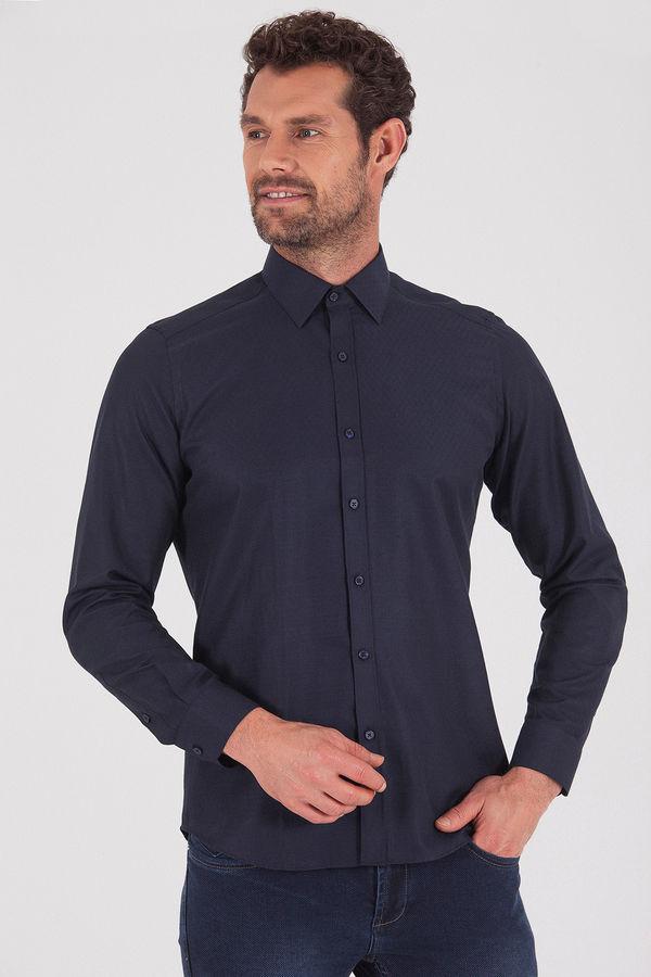 HATEMOĞLU - Lacivert Desenli Slim Fit Gömlek