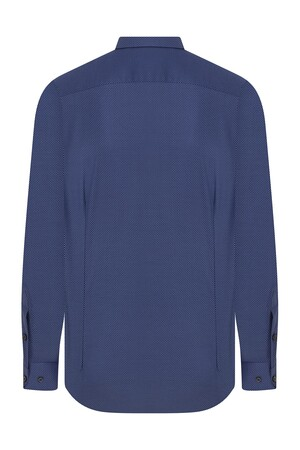 Hatem Saykı - Regular Fit Armürlü Lacivert Gömlek (1)