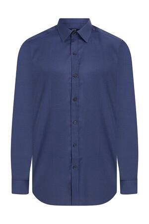 Hatem Saykı - Regular Fit Armürlü Lacivert Gömlek