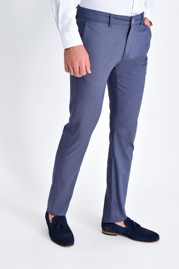 HTML - Lacivert Desenli Slim Fit Pantolon (1)