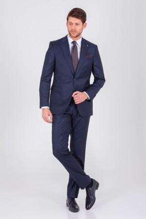 Hatem Saykı - Lacivert Desenli Slim Fit Takım Elbise