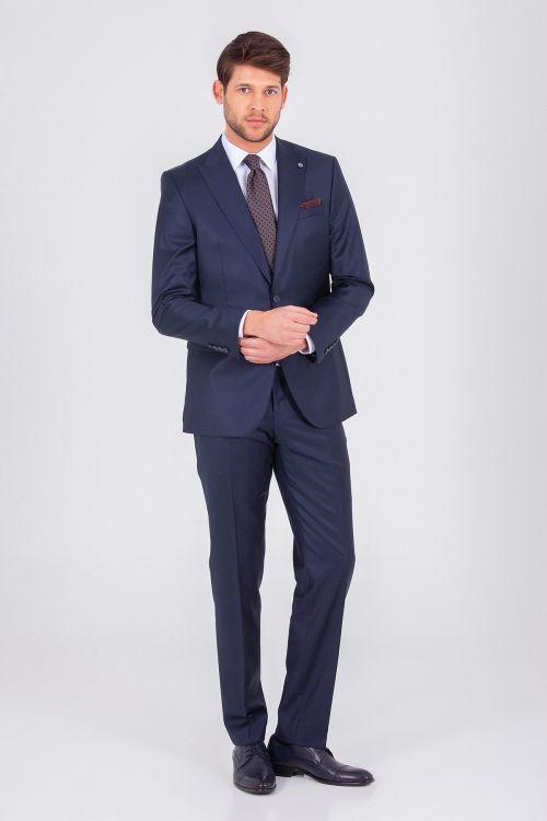 Hatem Saykı - Lacivert Desenli Slim Fit Takım Elbise (1)