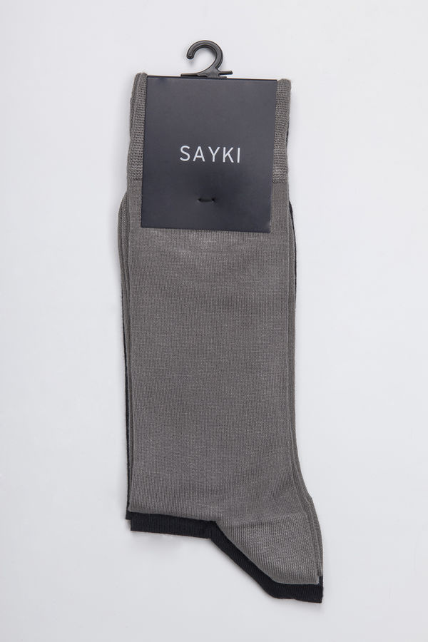 Hatem Saykı - Lacivert-Gri 2'li Çorap (1)