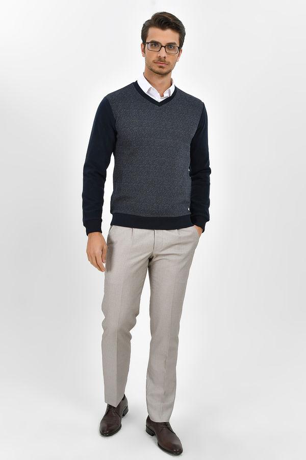 HTML - V Yaka Lacivert Sweatshirt (1)