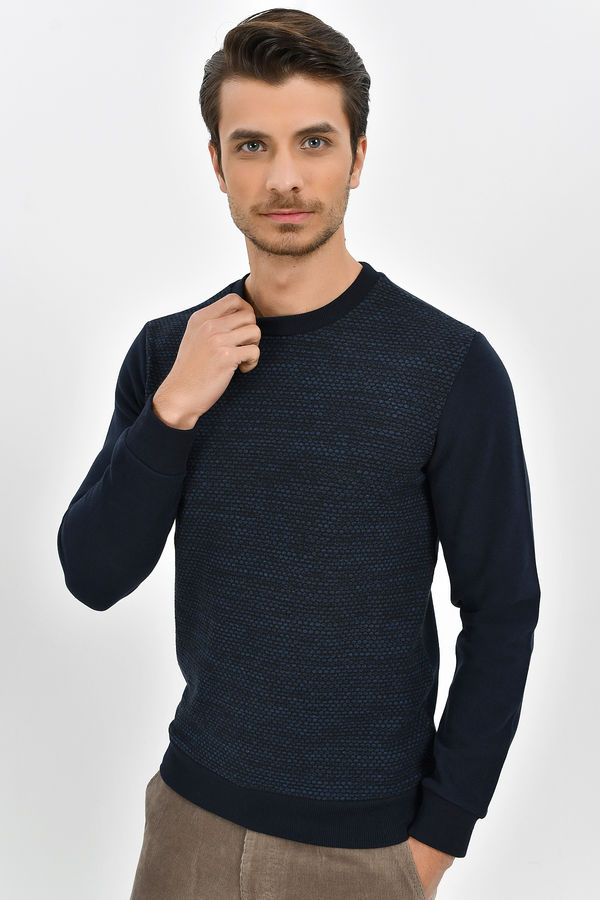 HTML - Lacivert - İndigo Slim Fit Sweatshirt