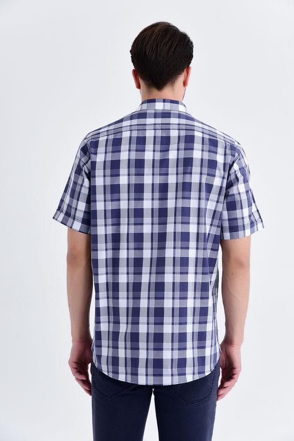 Lacivert Kareli Klasik Gömlek
