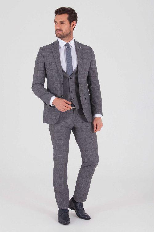 Hatemoğlu - Kareli Slim Fit Lacivert Takım Elbise (1)