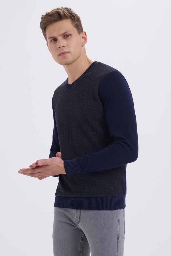HTML - Lacivert - Kahverengi Slim Fit Sweatshirt