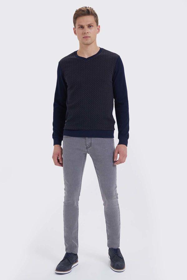 HTML - Lacivert - Kahverengi Slim Fit Sweatshirt (1)