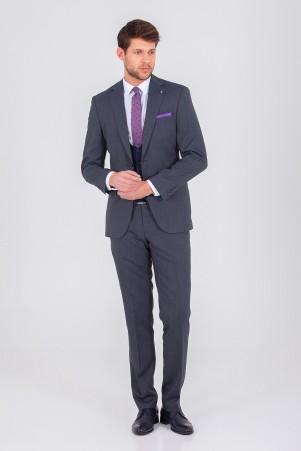 Lacivert Yelekli Slim Fit Takım Elbise - Thumbnail