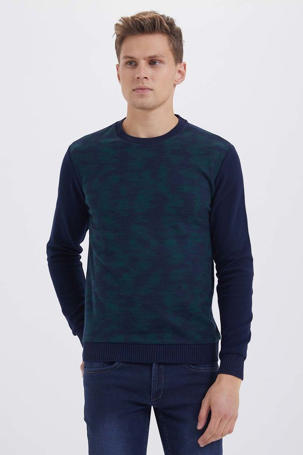 HTML - Lacivert - Yesil Slim Fit Sweatshirt