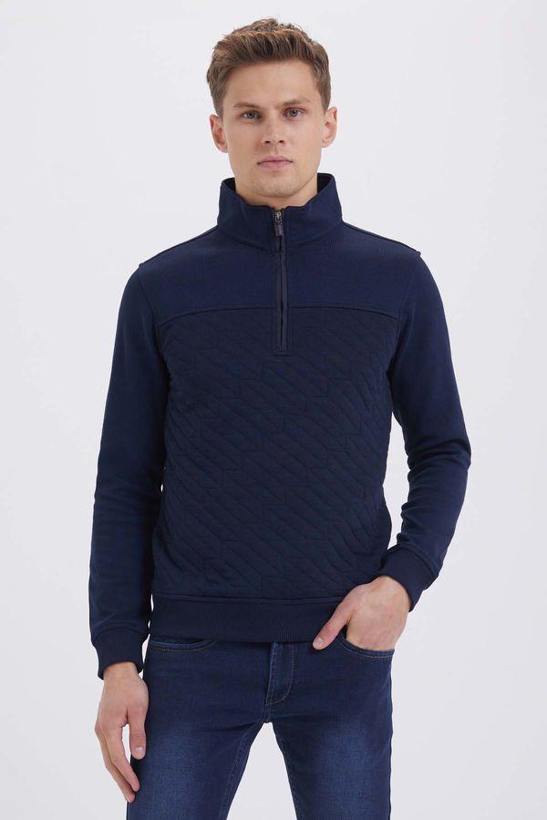 HTML - Fermuarlı Yarım Balıkçı Lacivert Sweatshirt