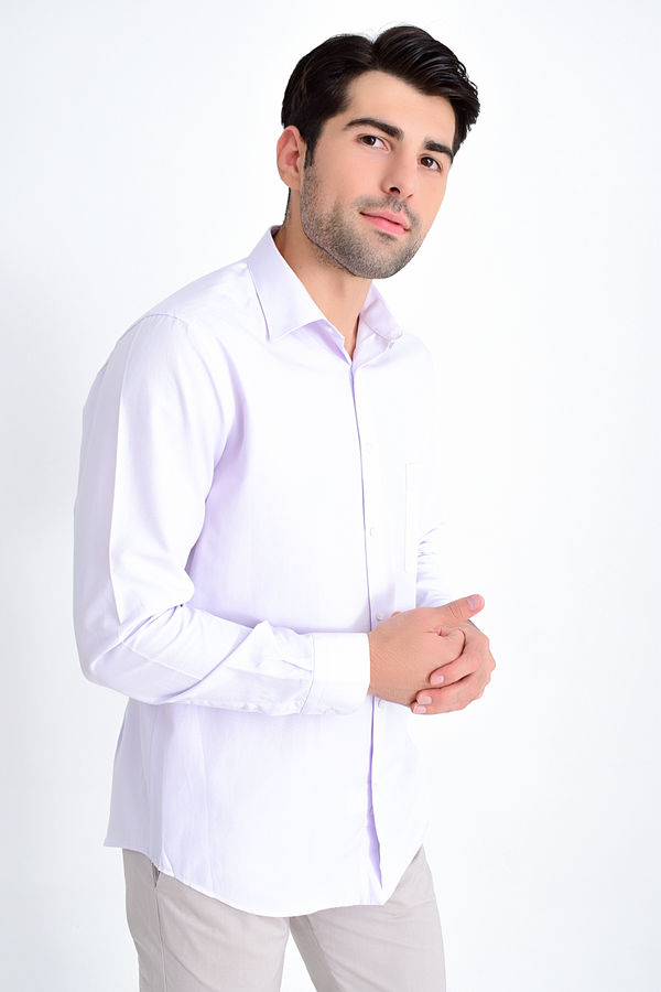 Hatemoğlu - Lila Desenli Klasik Gömlek