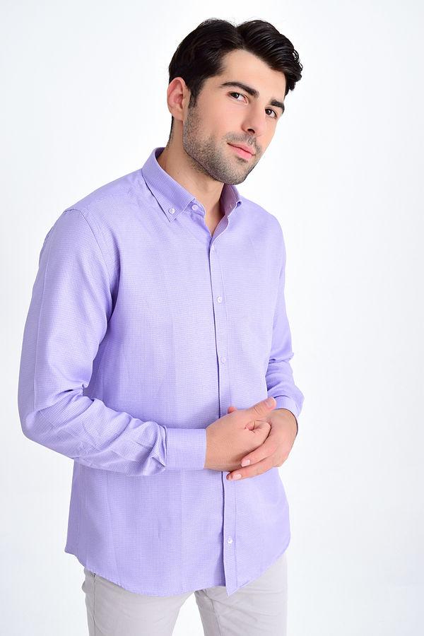 Hatemoğlu - Lila Desenli Regular Gömlek