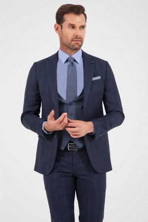 Lacivert Kareli %100 Yün Yelekli Takım Elbise - Thumbnail