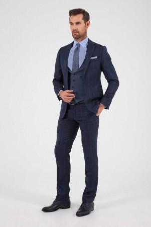 Hatem Saykı - Lacivert Kareli %100 Yün Yelekli Takım Elbise