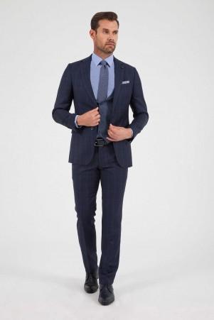 Hatem Saykı - Lacivert Kareli %100 Yün Yelekli Takım Elbise (1)