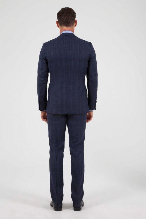 Lacivert Kareli %100 Yün Yelekli Takım Elbise