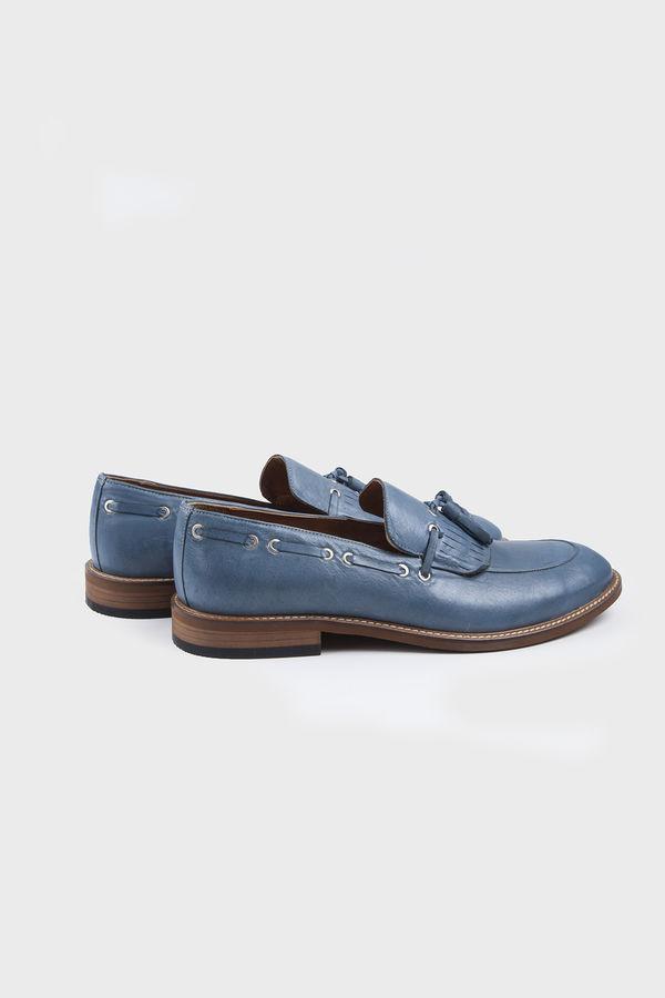 Hatem Saykı - Mavi Klasik Püsküllü Loafer Ayakkabı (1)
