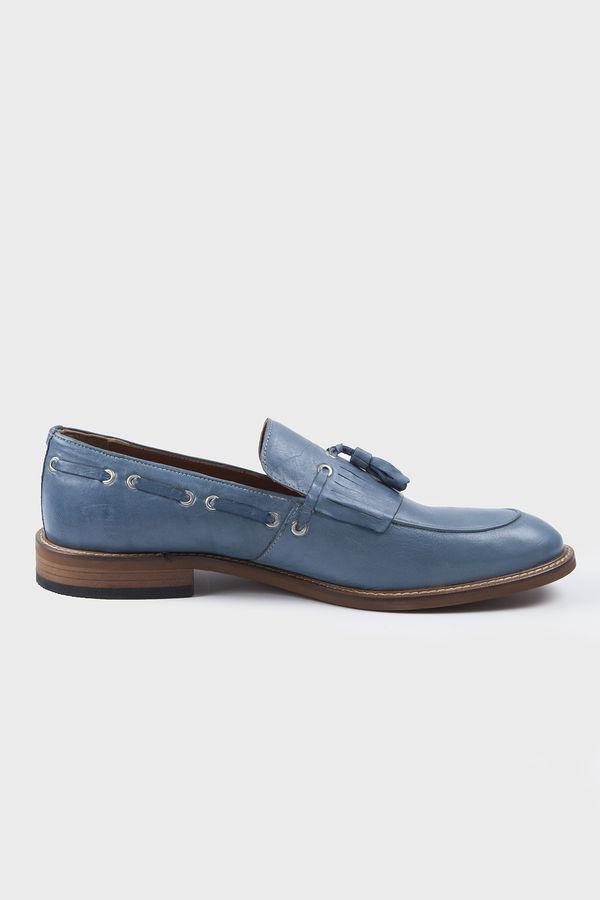 Mavi Klasik Püsküllü Loafer Ayakkabı