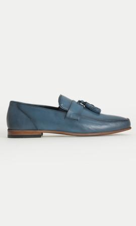 Hakiki Deri Mavi Klasik Ayakkabı - Thumbnail
