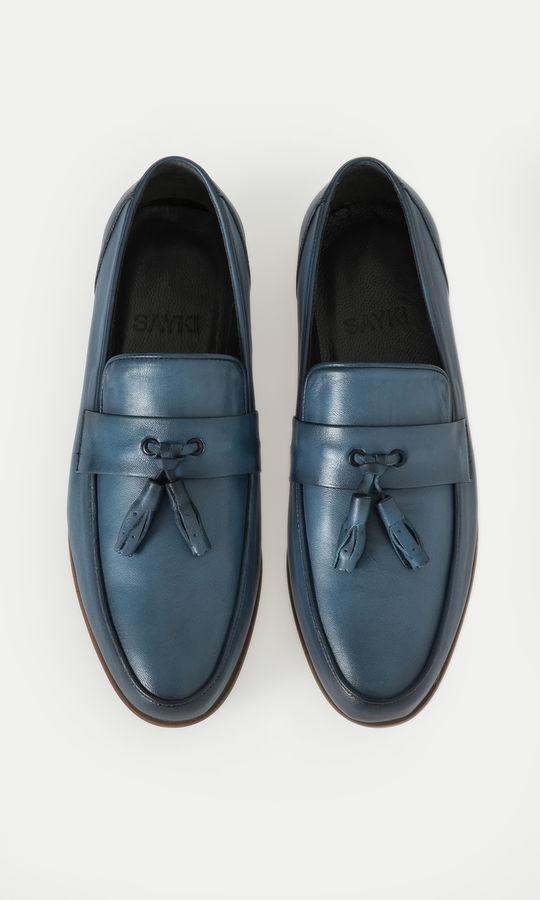 Hatem Saykı - Hakiki Deri Mavi Günlük Ayakkabı (1)