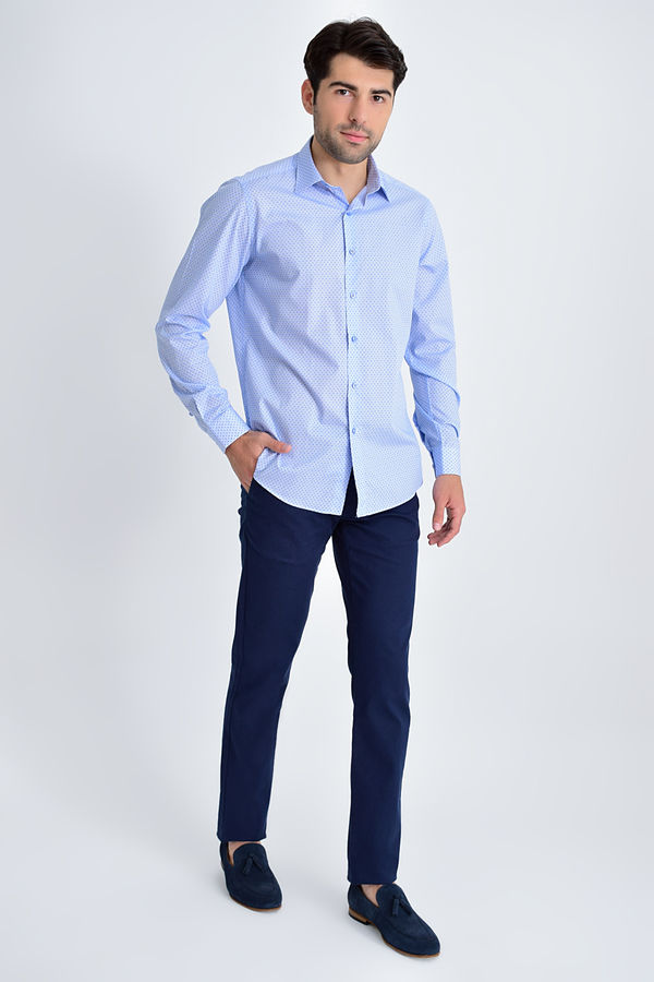 Hatemoğlu - Mavi Baskılı Regular Gömlek (1)