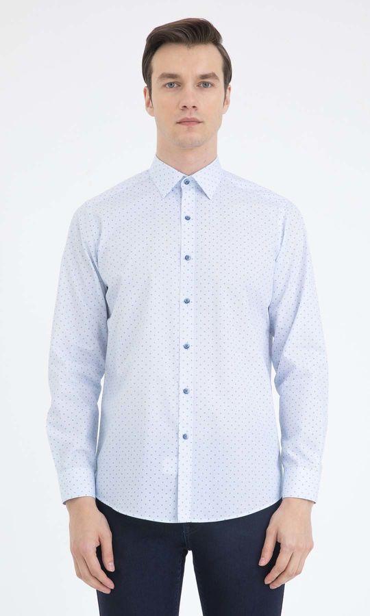 Hatemoğlu - Baskılı Regular Mavi Gömlek
