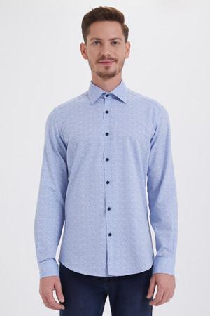 HTML - Mavi Baskılı Slim Fit Gömlek