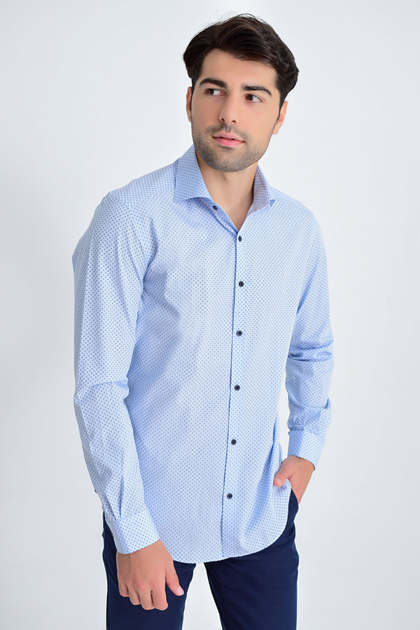Hatemoğlu - Mavi Baskılı Slim Fit Gömlek