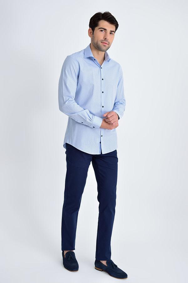 Hatemoğlu - Mavi Baskılı Slim Fit Gömlek (1)