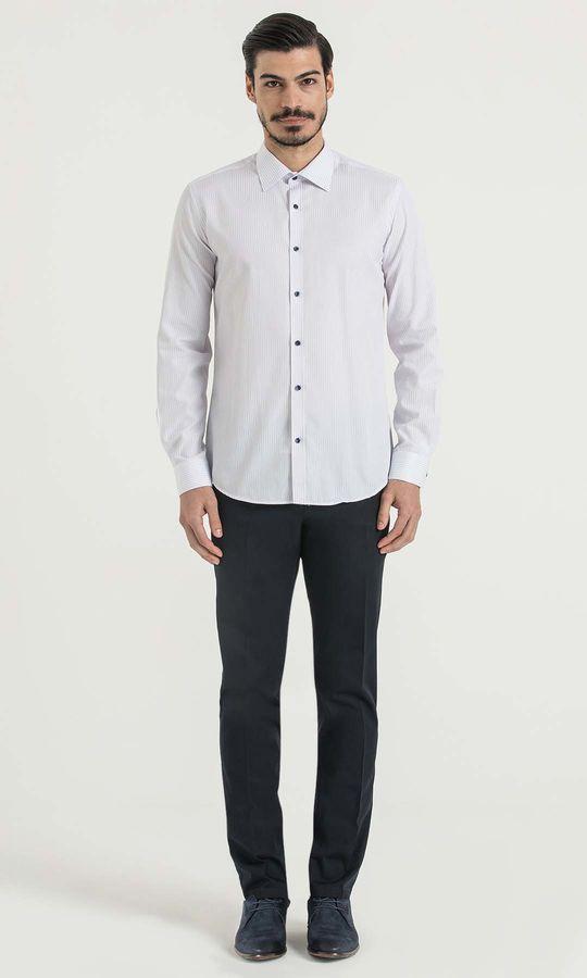 HATEMOĞLU - Çizgili Slim Fit Mavi Gömlek (1)
